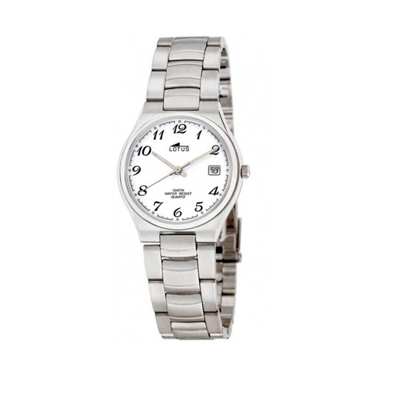 Reloj Lotus de hombre de estilo clásico, en acero con esfera blanca 15192/2