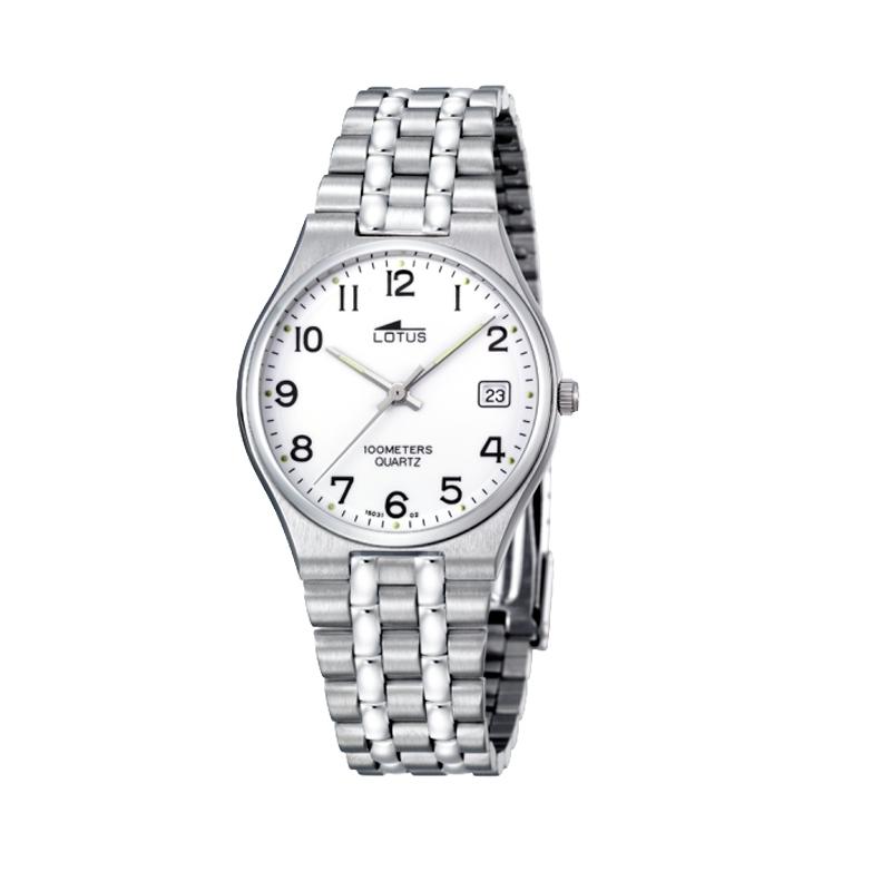Reloj Lotus de hombre de estilo clásico, en acero esfera blanca 15031/2