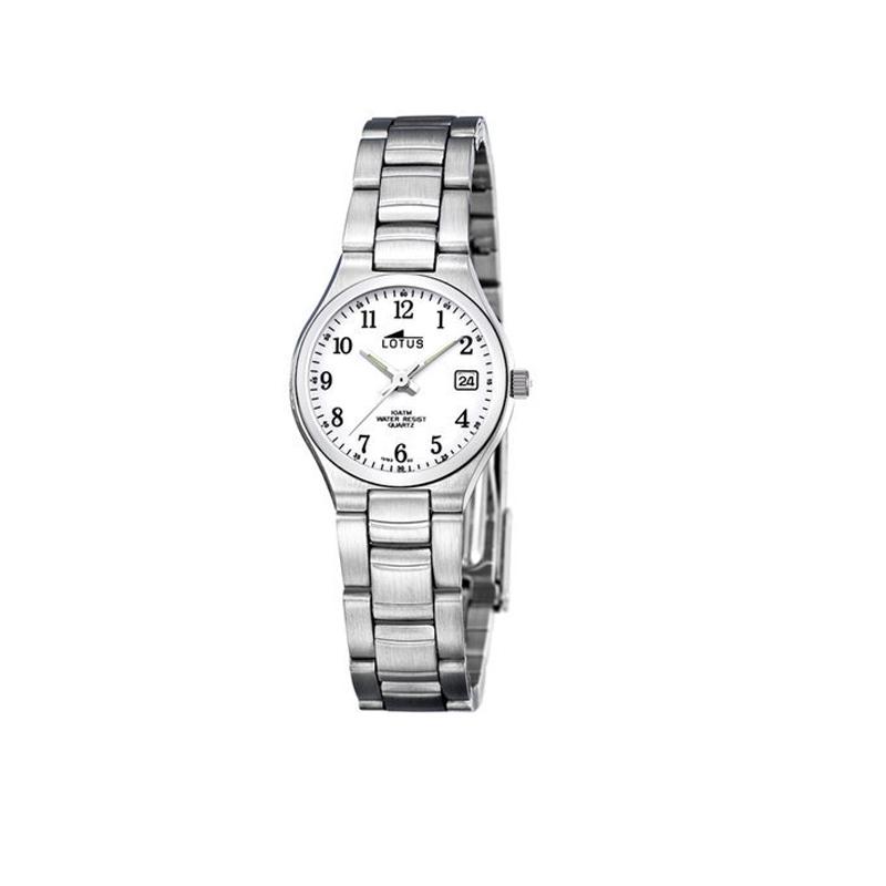 Reloj Lotus de mujer de estilo clásico, en acero con esfera blanca 15193/2