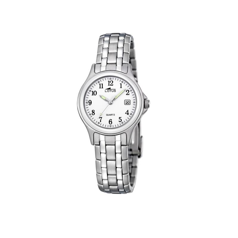 Reloj Lotus de mujer de estilo clásico, en acero con esfera blanca 15151/A