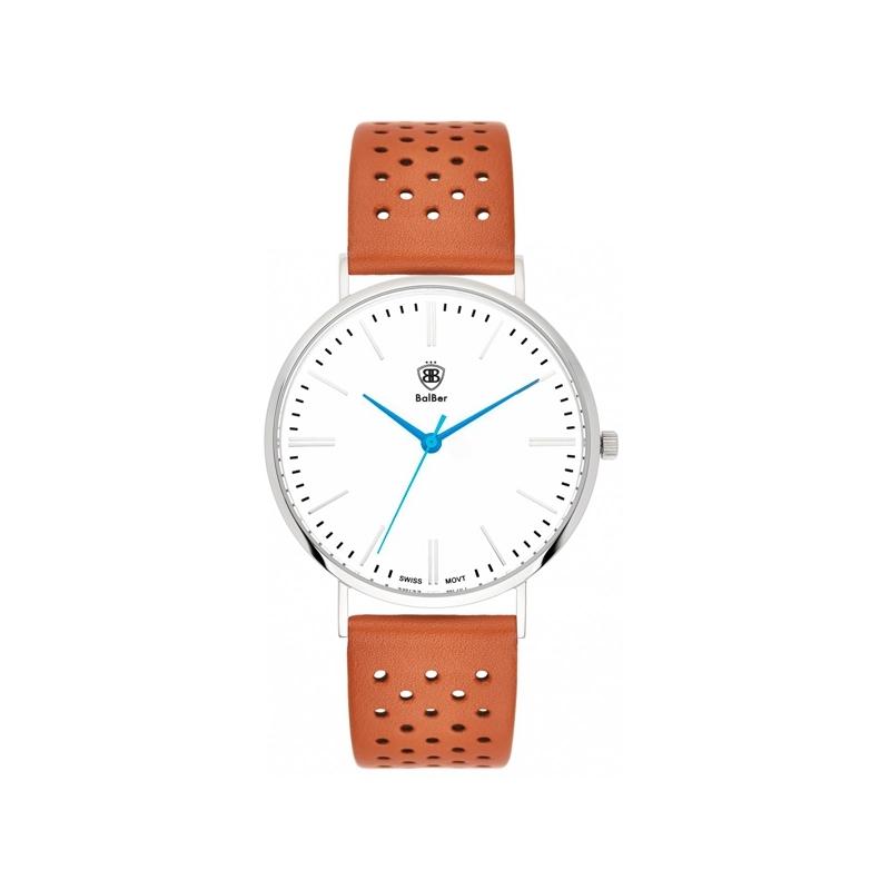 """Reloj Balber """"Original 1948"""" plateado, esfera blanca y correa de piel marrón."""