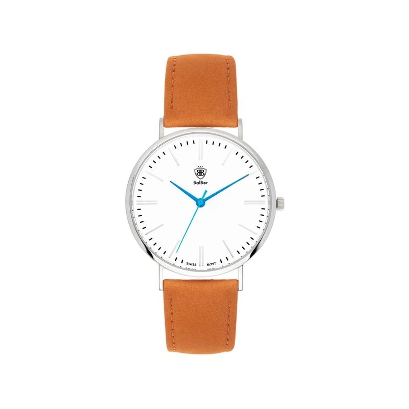 """Reloj Balber unisex """"Original Widco"""" con esfera blanca y correa de piel marrón"""