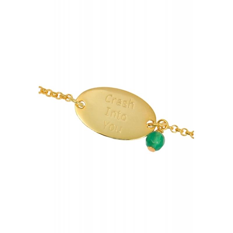 """Pulsera de plata dorada en oro amarillo, con colgante, """"Happy Gems"""" de Luxenter."""