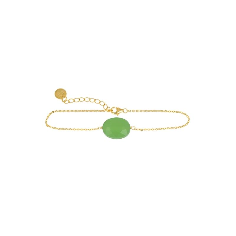 """Pulsera de plata dorada en oro amarillo con cuarzo verde, """" Happy Gems"""" de Luxenter."""