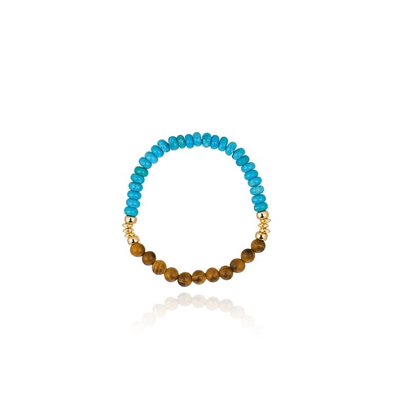 """Pulsera con madera, turquesas y detalles en plata dorada en oro, """"Happy Gems"""" de Luxenter."""