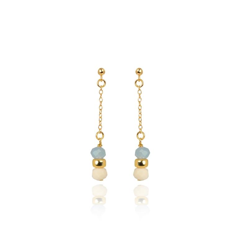 """Pendientes de plata dorada en oro amarillo y piedras, """"Happy Gems"""" de Luxenter."""