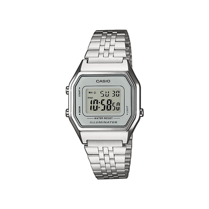 "Reloj Casio ""Retro Collection"" digital de mujer, en plateado LA680WEA-7EF"