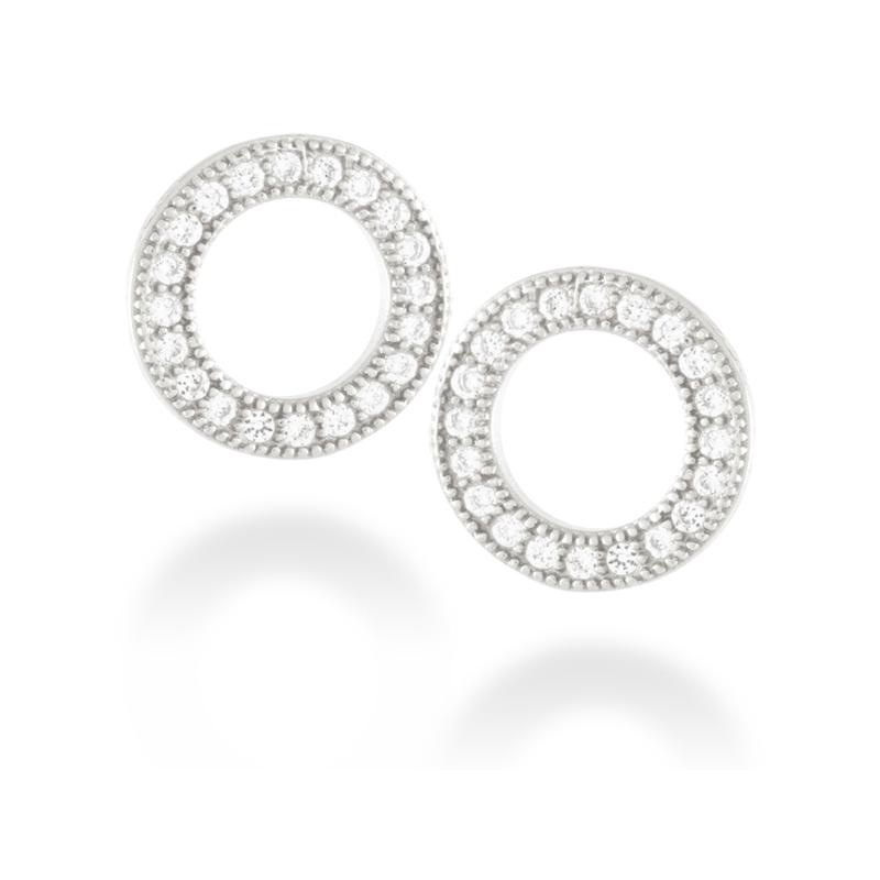 """Pendientes de plata de ley rodiada con circonitas, en forma de círculo, """"Machi"""" de Luxenter"""