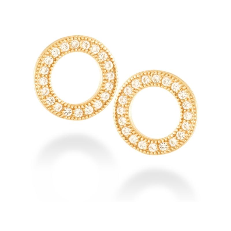 """Pendientes de plata dorada en oro amarillo con circonitas, en forma de círculo, """"Machi"""" de Luxenter."""