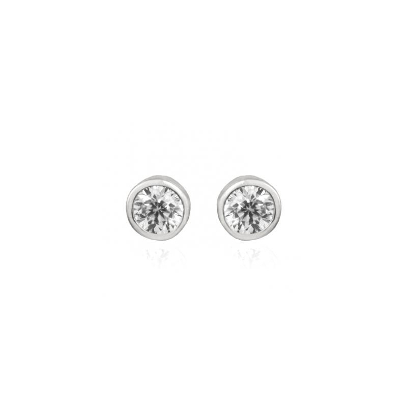 """Pendientes de plata rodiada estilo clásico con circonita, """"Dakarai"""" de Luxenter."""