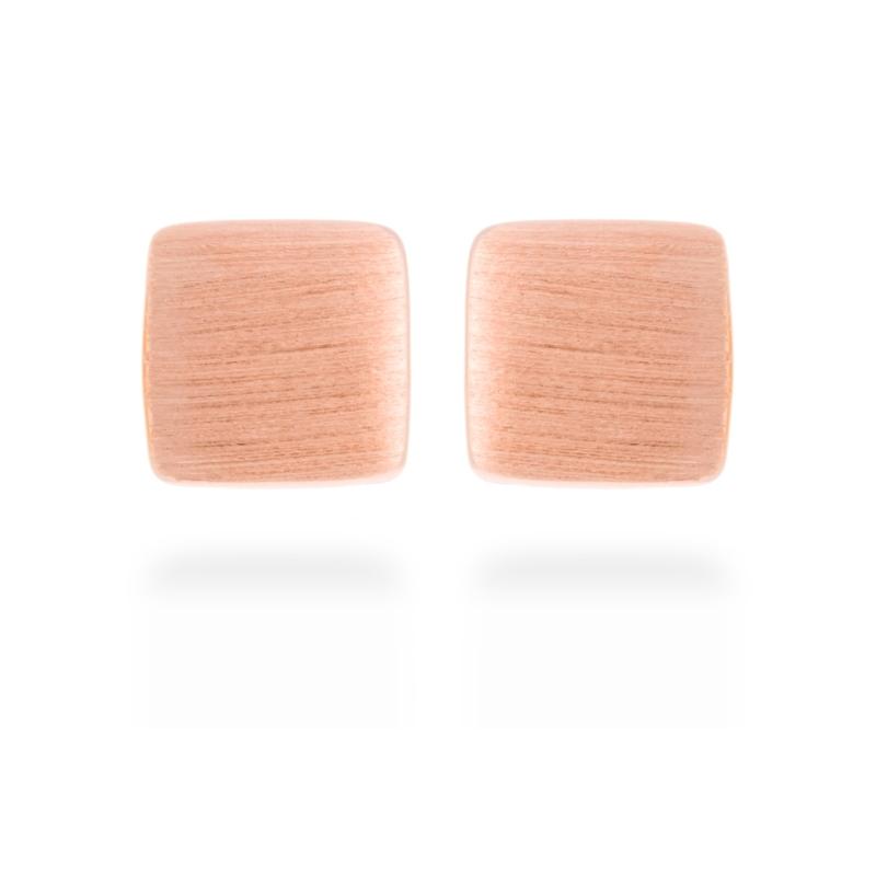 """Pendientes cuadrados de plata dorada en oro rosa, """"Essential"""" de Luxenter"""