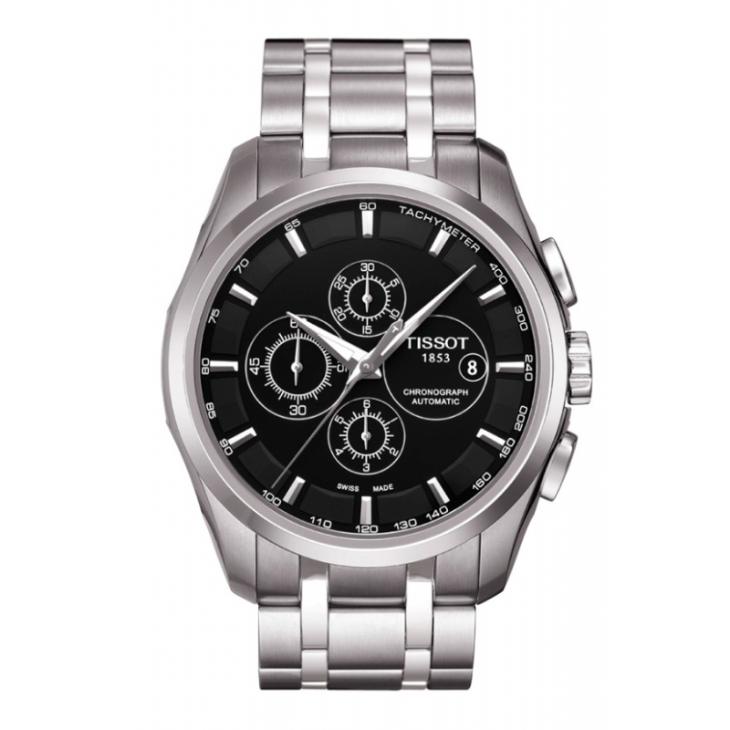 "Reloj Tissot automático de hombre cronógrafo con esfera negra,  ""Couturier"" T0356271105100"