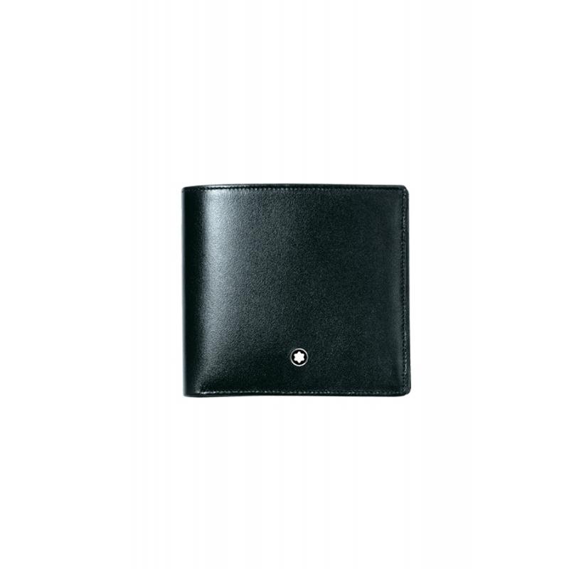 Billetero con monedero de piel negra Montblanc Meistertück con 4 tarjetas, de hombre 7164
