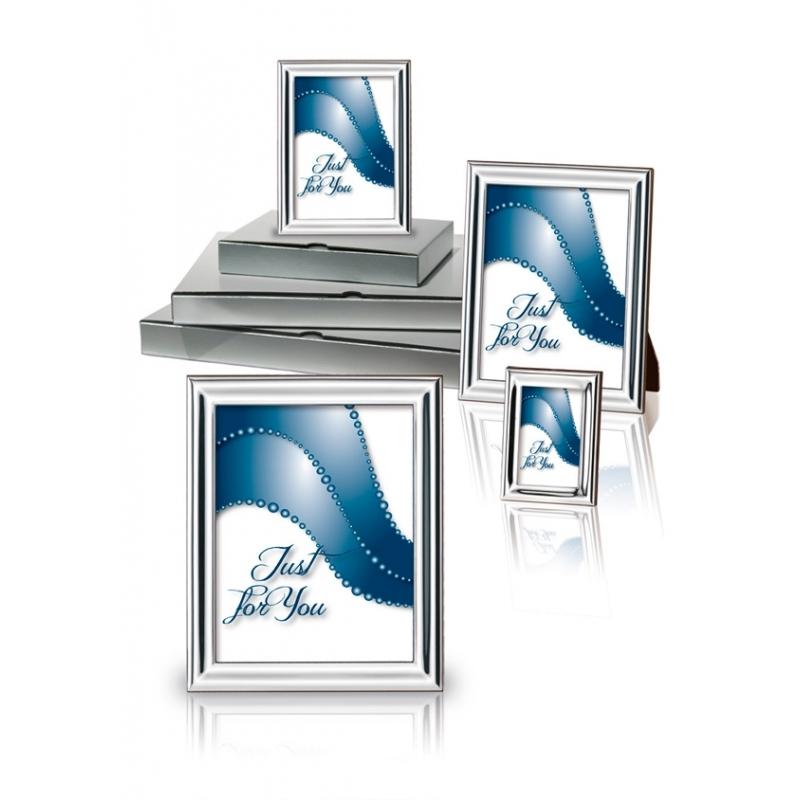 """Conjunto de 4 marcos de fotos, en plata bilaminada lisa, """"Liscia"""" de Italsilver."""
