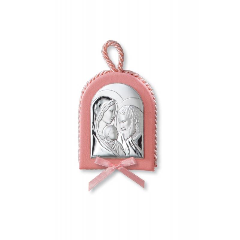 Medalla de cuna en rosa con plata, con La Sagrada Familia, de Italsilver.