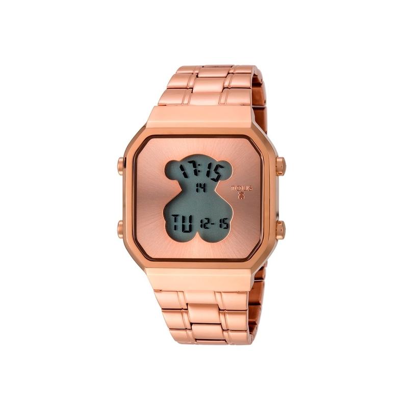 "Reloj Tous digital de mujer ""D-BEAR"" en acero dorado en oro rosa, estilo retro 600350290"