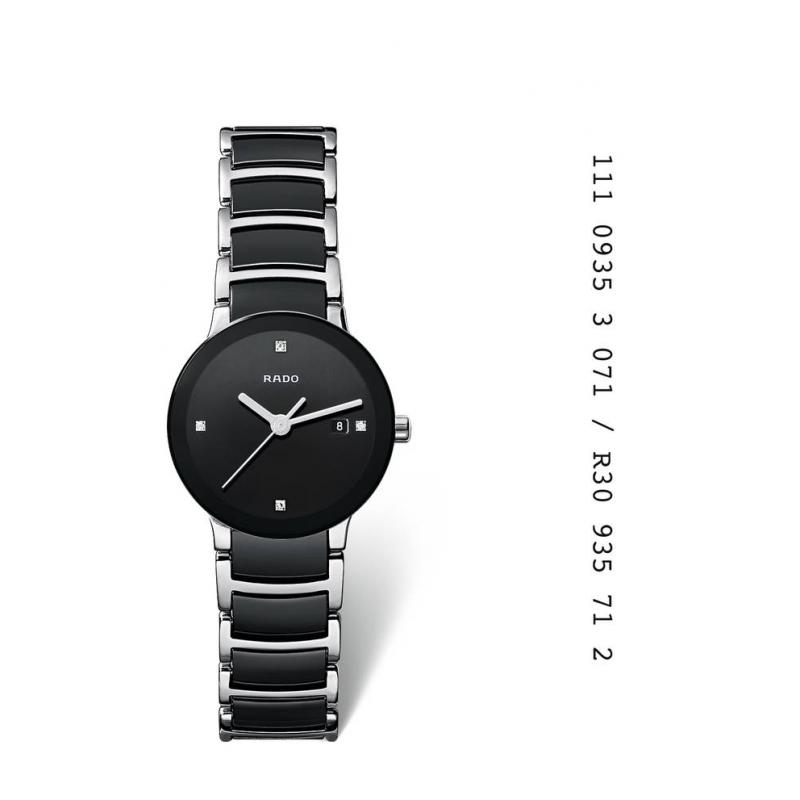 Reloj Rado Centrix de mujer en acero y cerámica negra, con diamantes en esfera R30935712