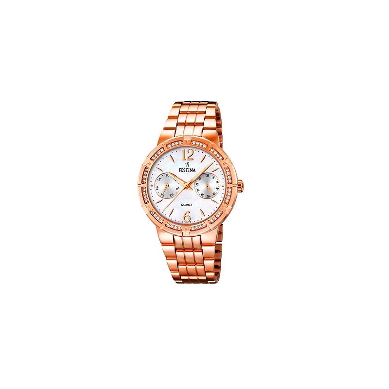 """Reloj Festina de mujer """"Mademoiselle"""" dorado en oro rosé con circonitas y esfera de nácar F16702/1"""