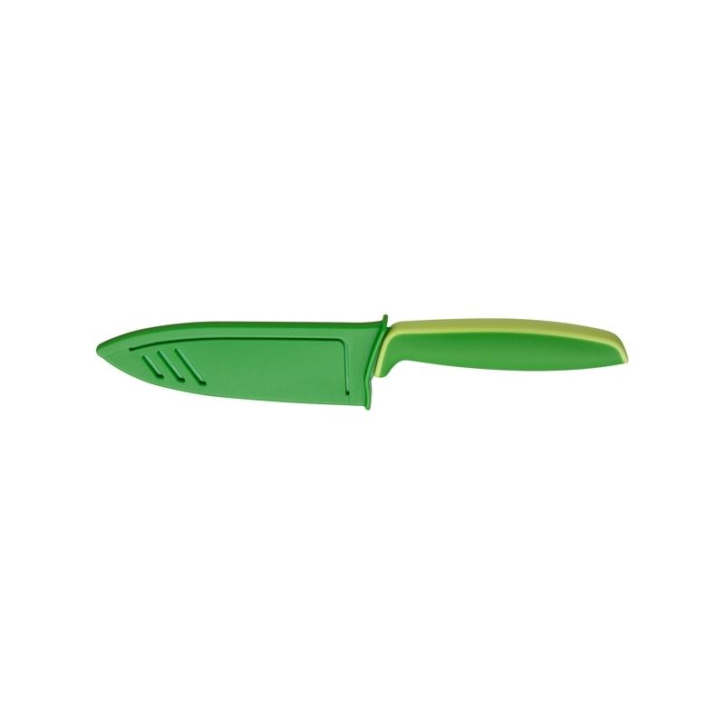 """Cuchillo de cocina en acero y resina verde, con funda protectora, """"Touch"""" de WMF"""