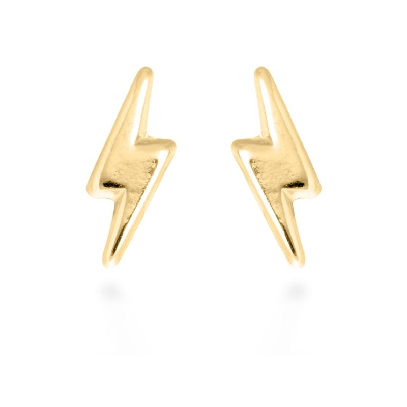 "Pendientes de plata dorados en oro, con forma de rayo, ""Ray"" de Luxenter."
