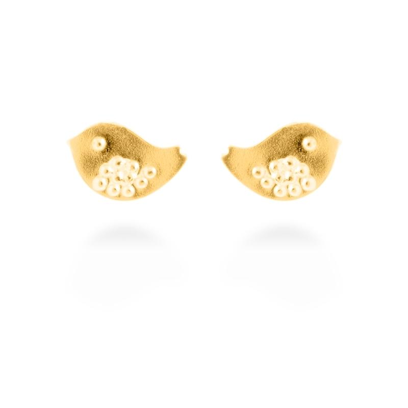 """Pendientes de plata dorado en oro amarillo, en forma de pájaro, """"Birdy"""" de Luxenter."""