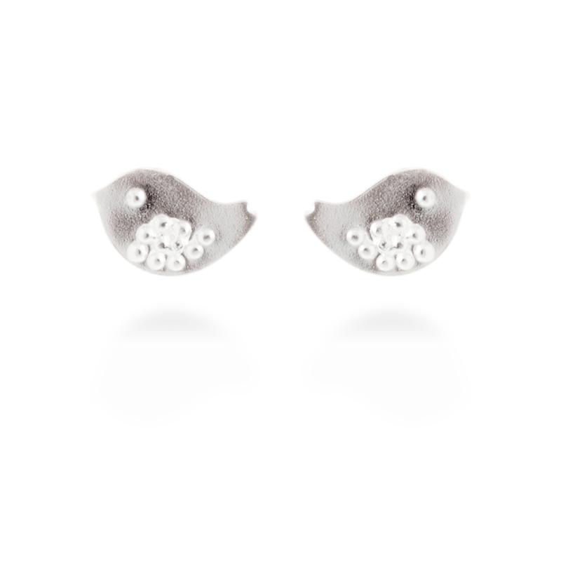 """Pendientes de plata rodiados, con forma de pájaro, """"Birdy"""" de Luxenter."""