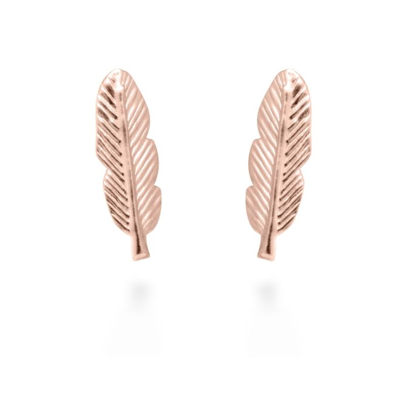"""Pendientes de plata dorados en oro rosa, con forma de pluma, """"Feather"""" de Luxenter."""