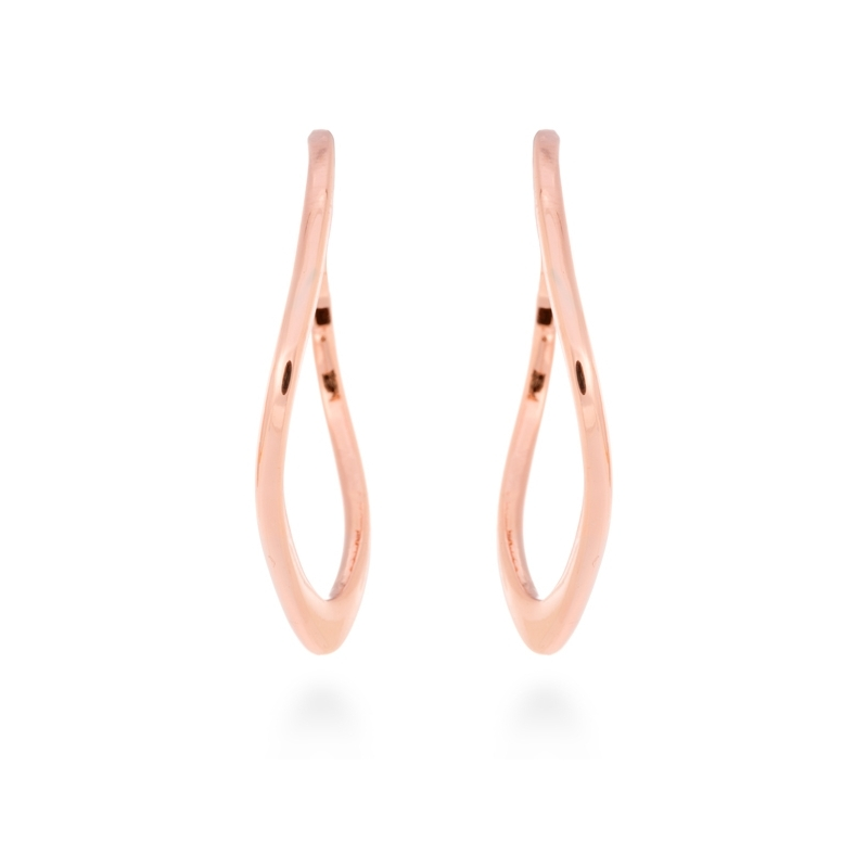 "Pendientes largos rígidos de acero dorado en oro rosa, ""Sadhu"" de Luxenter."