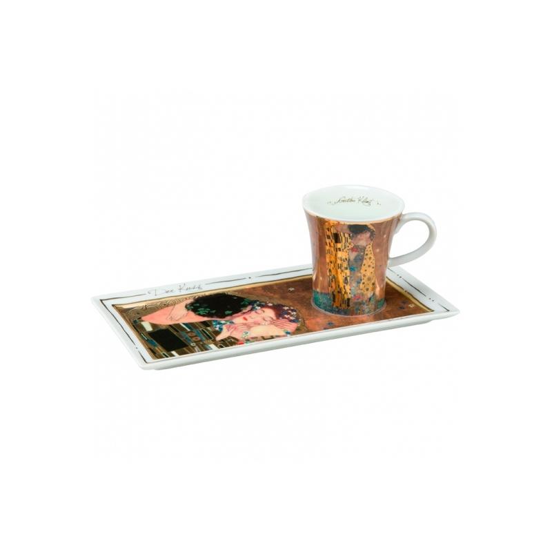 """Juego de café """"El beso"""" de Gustav Klimt, en cerámica por Goebel."""