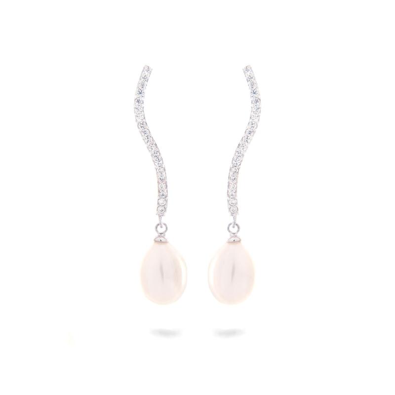 1aa32a0d853a Pendientes largos de plata rodiada con circonitas y perlas ...