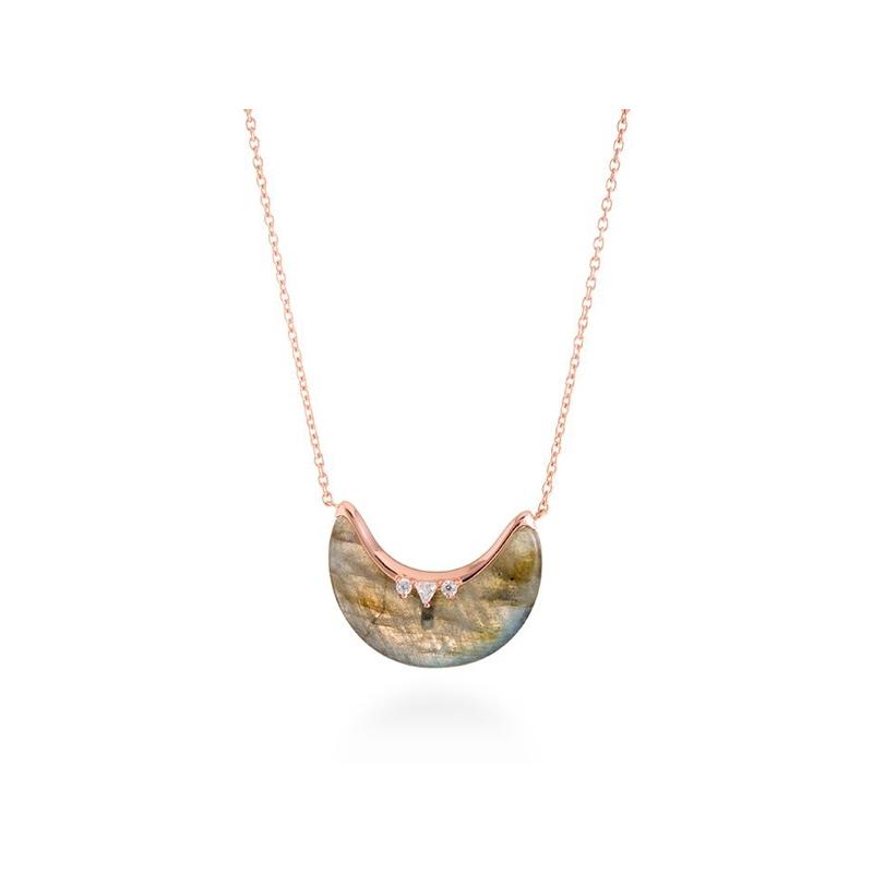 """Colgante de plata dorado en oro rosé, con labradorita y circonitas, """"Dalal"""" de Luxenter."""
