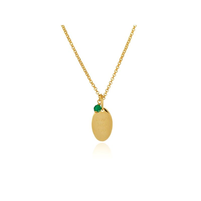 Colgante de plata dorada en oro amarillo y ágata verde, dentro de Happy Gems, de Luxenter.