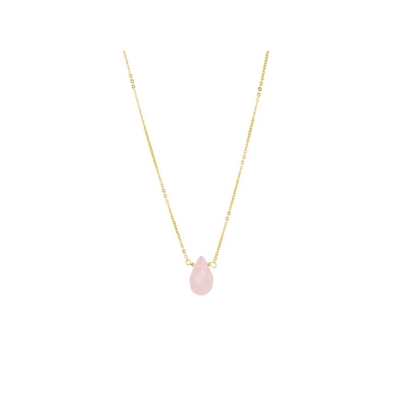 """Colgante de cuarzo rosa en cadena de plata chapada en oro amarillo, """"Qari"""" de Luxenter."""