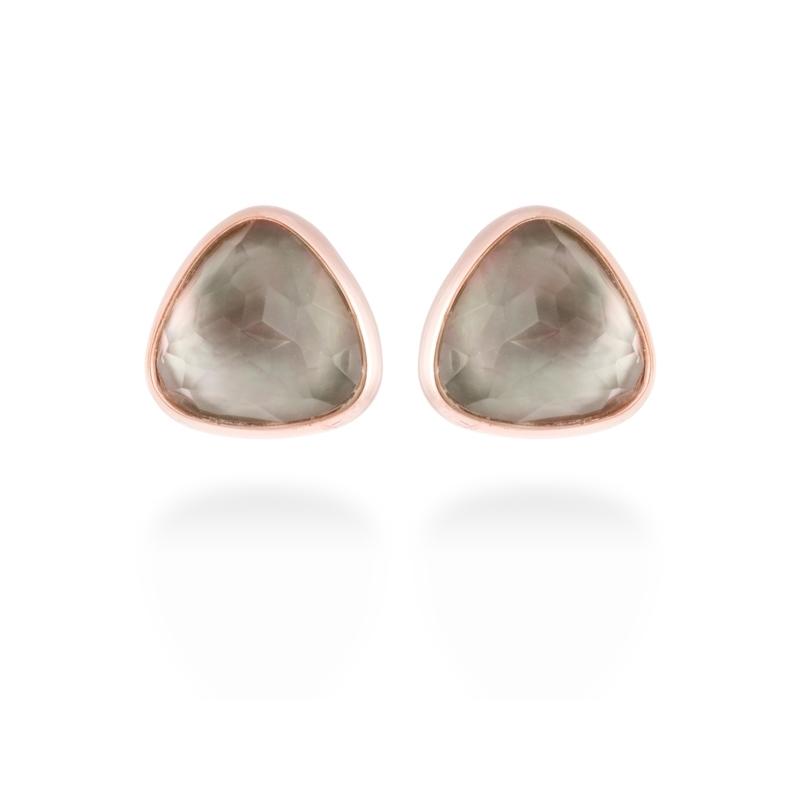 """Pendientes de plata chapada en oro rosé y nácar gris, """"Zar"""" de Luxenter."""