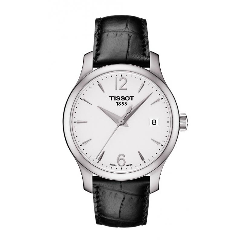 """Reloj Tissot de mujer """"Tradiction"""", de estilo clásico y correa de piel negra T0632101603700"""