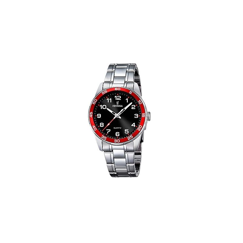 """Reloj Festina """"Trend"""" para niño o cadete, con esfera negra y detalles rojos F16905/3"""