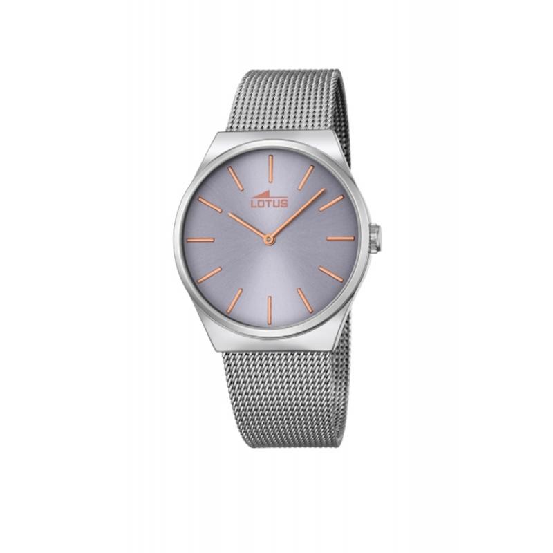 """Reloj Lotus hombre """" Smart Casual"""" en acero con esfera malva, de aire retro 18285/2"""