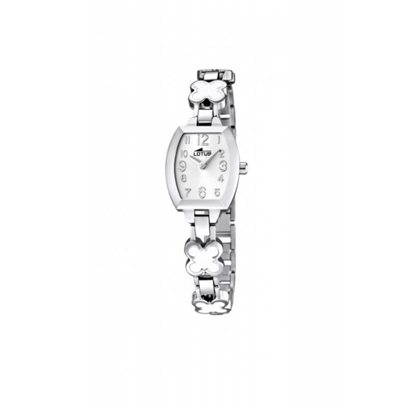 """Reloj Lotus de niña """"Junior"""" en acero con flores esmaltadas en blanca 15771/1"""