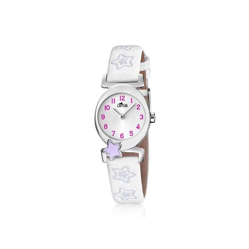 """Reloj Lotus de niña """"Junior"""" con correa de piel blanca y estrellas lila 18173/3"""