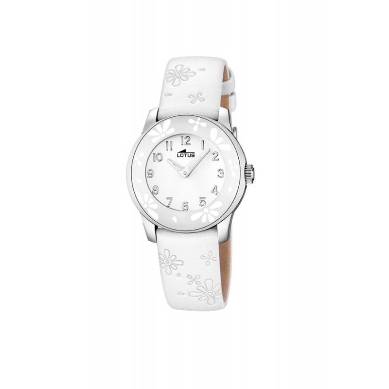 """Reloj Lotus para niña """"Junior"""" con bisel de flores y correa piel blanca 15950/1"""