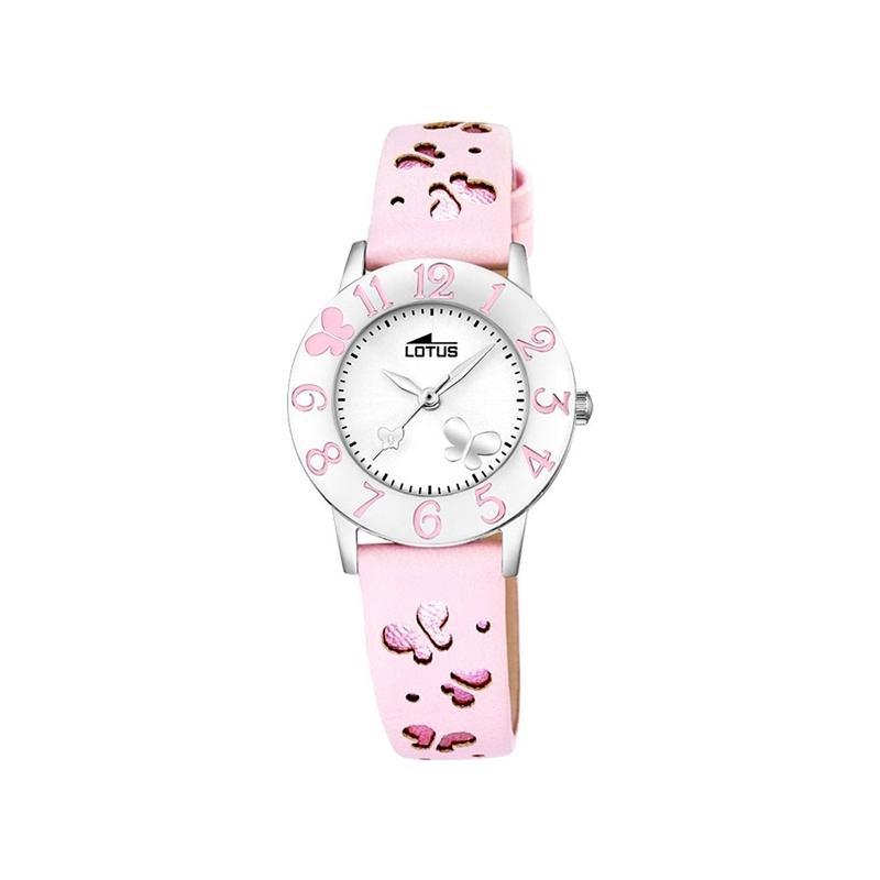 """Reloj Lotus de niña """"Junior"""" de correa y bisel en rosa con mariposas 18269/2"""