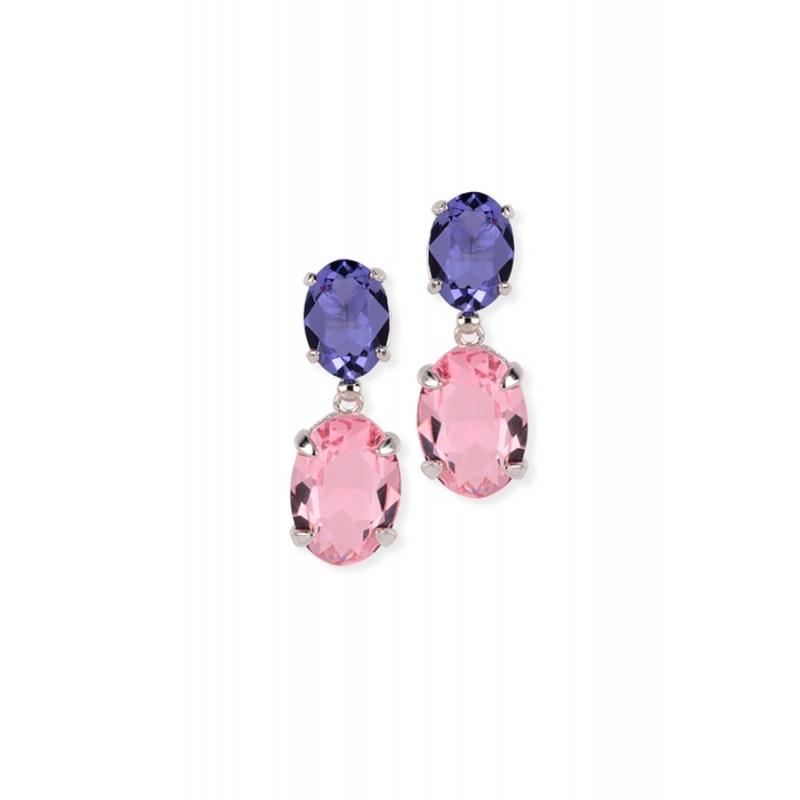 Pendientes largos de plata rodiada y piedras Swarovski® en rosa y morada, de Maximo Betro.