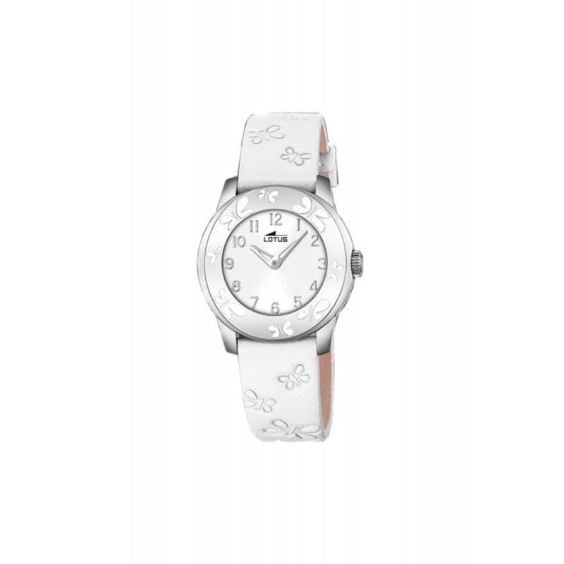"""Reloj Lotus de niña """"Junior"""" con correa blanca y mariposas, para comunión 18272/1."""