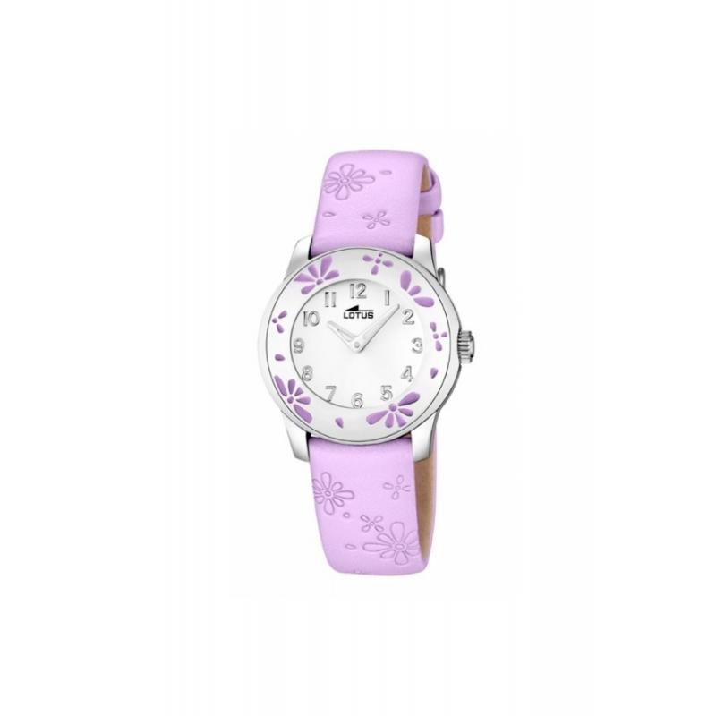 """Reloj Lotus de niña """"Junior"""" con correa de piel malva y flores 15950/3"""