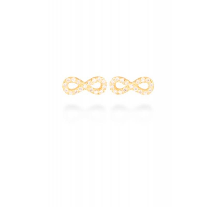 """Pendientes de plata con forma infinito, dorado en oro amarillo y circonitas, """"Munthir"""" de Luxenter."""