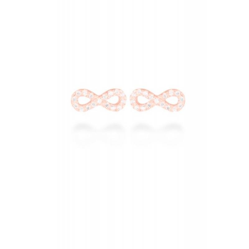 "Pendientes de plata dorados en oro rosa con circonitas, con forma de infinito ""Munthir"" de Luxenter."