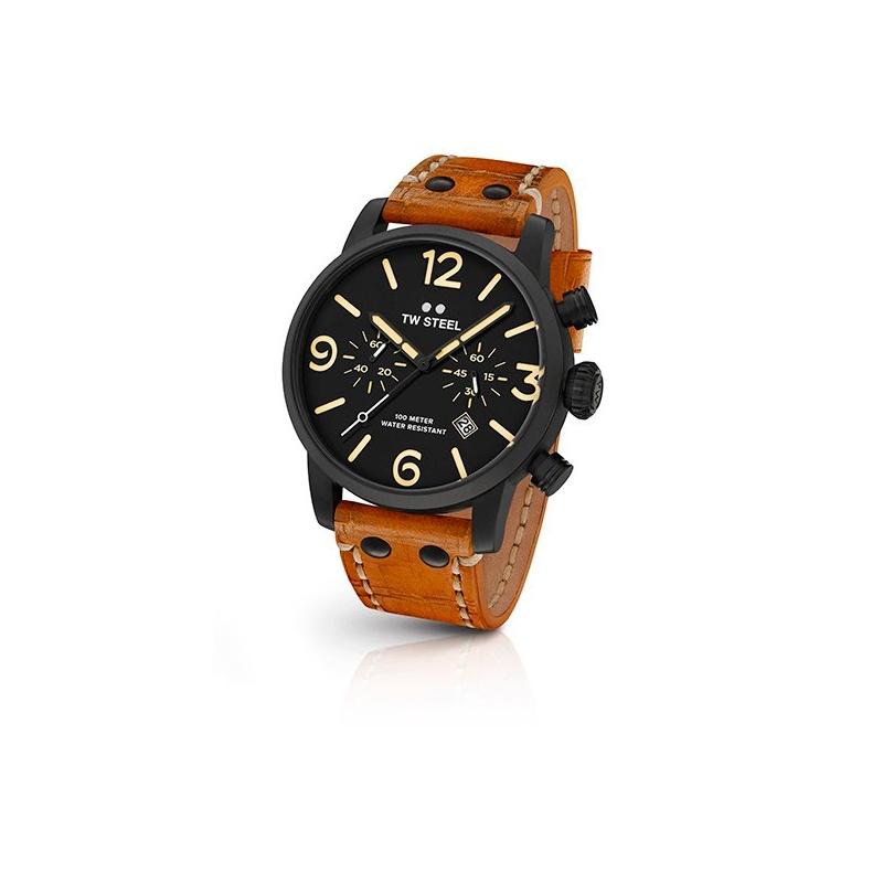 """Reloj Tw Steel de hombre """"Maverick"""" de 45 mm., chapado en negro con cronógrafo y correa camel MS33"""