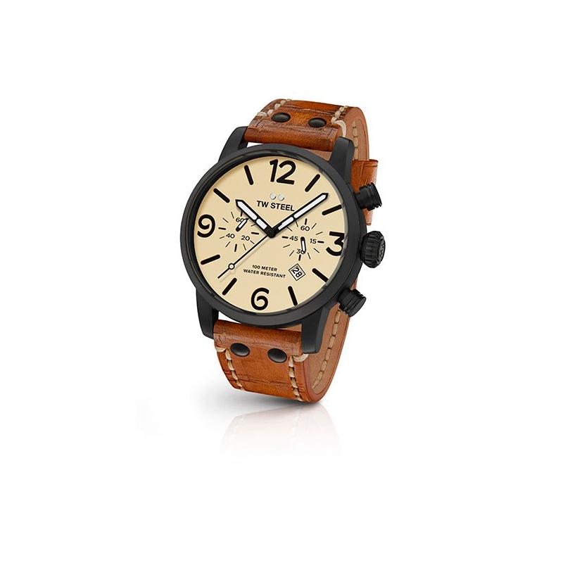 """Reloj Tw Steel para hombre """"Maverick"""" en 45mm. de caja, con cronógrafo y correa marrón MS43"""