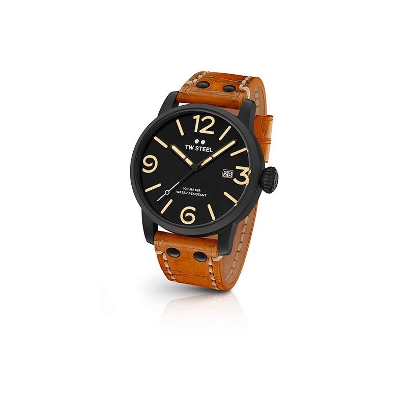 """Reloj Tw Steel de hombre """"Maverick"""" con 45 mm., chapado en negro y correa marrón MS31"""