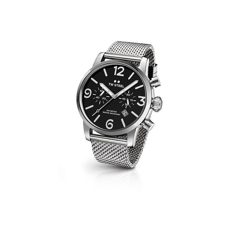 """Reloj Tw Steel """"Maverick"""" para caballero, en acero con cronógrafo, esfera negra y malla MB13"""